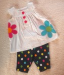 Carter's Infant Baby Girl 2PC Set w/Flowers & Polka Dots 6MTH
