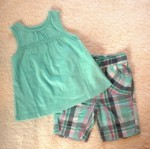 Jumping Beans Infant Baby Girl Teal Top & Capri Set 6-9MTH