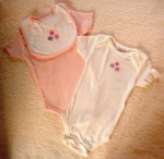 Koala Baby Infant Baby Girl 3PC White Onesie & Bib Set 6-9MTH