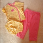 Little Me Infant Baby Girl 3PC Yellow w/Pink Polka Dots 9MTH