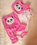Carter's Infant Baby Girl 3PC Pink & White w/Panda 9MTH