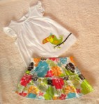 Carter's Infant Baby Girl 2PC Skirt & Top w/Parrot 9MTH