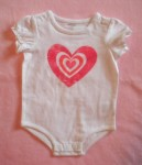 Miniwear Baby Toddler Girl White Onesie w/Heart 12MTH