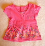 Levi's Baby Toddler Girl Pink V-Neck Top w/Flowers & Bow 12MTH