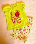 Greendog Baby Toddler Girl 2PC Ladybug Capri Set 18MTH