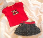 Gymboree Infant Baby Girl Skirt & Shirt Set w/Dogs 3-6MTH
