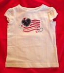 4th of July Jumping Beans Toddler Girl White Top w/Cap Sleeves 2T