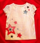 4th of July Jumping Beans Toddler Girl White Top w/Stars 3T