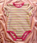 Little Miss Attitude Baby Toddler Girl Pink Striped Onesie 24MTH