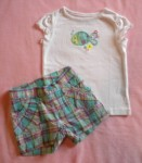 Jumping Beans Toddler Girl 2PC Short Set w/Teal Fish 2T