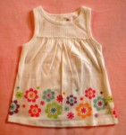 Jumping Beans Toddler Girl White Babydoll Top w/Flowers 2T