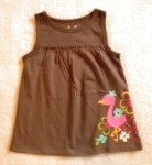 Jumping Beans Toddler Girl Brown Babydoll Top w/Tropical Bird 2T