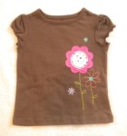 Jumping Beans Toddler Girl Brown Top w/Flowers 2T